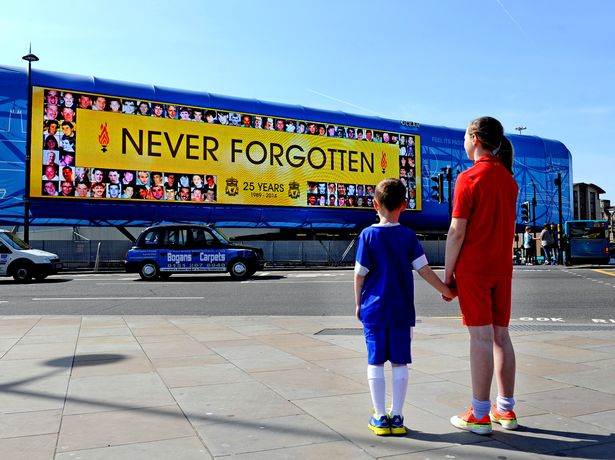 Red & Blue side by side, Never Forgotten 25th Anniversary of Hillsborough remembered on the big screen at Lime street. Pictured Maxwell-Bragg & Bobbi-Taylor. Photo by Colin Lane